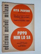 SPARTITO.. PIPPO NON LO SA - Rita Pavone/ NON TI SCORDAR DI ME- Claudio Villa