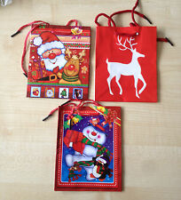 Pack of 3 SMALL Size Multi Coloured Christmas Gift Bags ( 3 Different Designs)