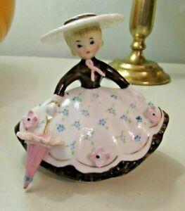 Great! Vintage Ceramic Southern Belle Figurine w/ Umbrella Holt Howard Lefton En