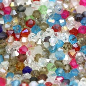 200pcs Mixed Colour Loose Bicone Glass Beads 4mm x 3mm Crafts UK stock