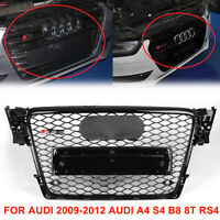 für Audi A4 B8 08-12 A4 S4 Schwarz Kühlergrill Wabengrill Hochglanz Mit Emblem