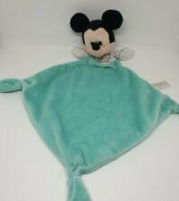 01 - Doudou Mickey Disney Nicotoy plat bleu turquoise cube ABCD rayure gris TBE