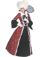 Colonial Dress Black/Red Flocked Satin & Velveteen 18th Century Fancy Costume LG