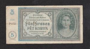 5 KORUN FINE BANKNOTE FROM BOHEMIA-MORAVIA 1940 PICK-4