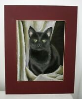 Vintage Original Art Green Eyed Black Cat Chalk Pastels Drawing Sketch Signed