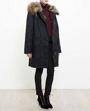 Yves Salomon £1900 Black Removable Fur Lined Parka Coat FR38/UK10