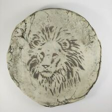 """HANDMADE Pottery Lion Plaque - 7"""" Rustic Gray Mount St. Helens Ash Wall Hanging"""