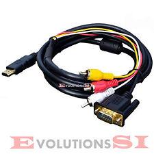 CABLE ADAPTADOR HDMI A 3 RCA + VGA 1,5 METROS RGB TELEVISION TV PS3 EUROCONECTOR