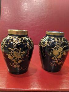 Antique / Vintage Cobalt Blue Music Trophy Urns /vases