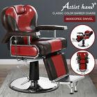 360 Degree Swivel Hydraulic Recliner Barber Chair Heavy Duty Salon Red Black