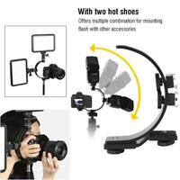 C-Shape Dual Hot Shoes Flash Lamp Mount Holder For Mini DV Camcorder/DSLR Camera