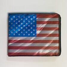 American Flag Patriot Red White Blue in Wind Buckle Down Bi-fold Wallet New Gift
