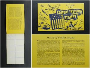 Official U.S.A. Combat Insignia Stamps Book, 1940s WW2 Vintage Stamp Booklet