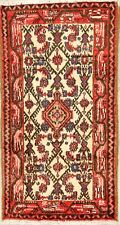 CLEARANCE 2'x4' Geometric Hamadan Ivory Oriental Area Rug Wool Hand-Knotted