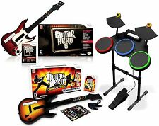 Wii/Wii-U Guitar Hero 5 & World Tour 2 Guitars/2 Games Drums Bundle Set nintendo