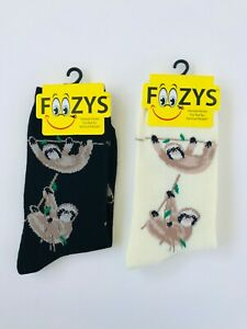 New 2 Pairs Sloth Crew Socks Women's Size 9-11 Foozys