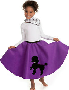Youth Poodle Skirt Purple with Musical note printed Scarf