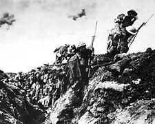 """New 8x10 World War I Photo: Canadian Troops Train to go """"Over the Top"""", 1916"""