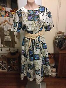 Vintage Party Sundress Pretty Floral Pattern Short Sleeves Below Knee 12-14