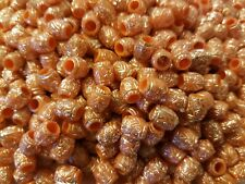 500 pcs Orange 9mm Oval Silver Tribal Patterned Plastic Craft Jewelry Beads