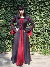 Mittelalter-Kleid Gothic-Kleid schwarz/rot Trompentenärmel Gr.L Mittelalterkleid