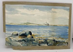 Antique Watercolor Painting Annisquam Lighthouse Signed As Is