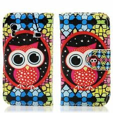 Samsung Ace S5830i S5839i Flip Tasche Case Schutz Hülle Etui Mosaik Eule Owl