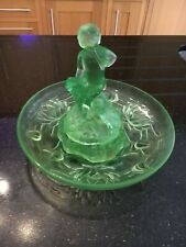Walther& Sohne Art Deco Green Uranium Glass Peter Pan & Wendy with Frog C 1934