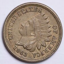 1863 Indian Head Small Cent CHOICE AU+ FREE SHIPPING E115 KP