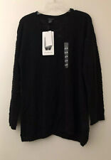 Calvin Klein Jeans Women's Knit Sweater Top Size M Pullover V Neck Black Nwt