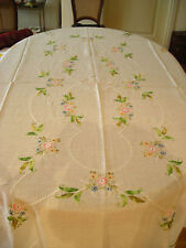 TABLE CLOTH LINEN LIGHT 70'S HAND-EMBROIDERED WITH 12 NAPKINS AND 12 FOR APER