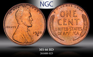 1935-D LINCOLN WHEAT CENT NGC MS 66 RD BU UNC LIGHTLY TONED GEM BEAUTY