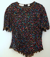 Vintage Holiday Ugly Christmas Sweater Sz L Confetti Sparkling Sequin Top WOW