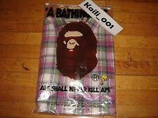 A Bathing Ape MADRAS CHECK STANDRD BD Long Sleeve Shirt Size XXL Camo Bape B