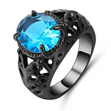 Round Blue Aquamarine Wedding Ring 18K Black Gold Filled Jewelry Size 7