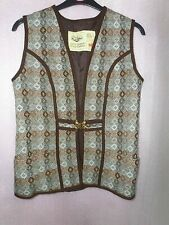 1960's DILLAD CORWGL Coracle Clothes Wool Tapestry Vest Wales Welsh Woven UK 16