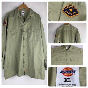 Dickies Long Sleeve Button Front Work Shirt Khaki Security Uniform Shirt XL