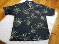 Tommy Bahama Pineapples Men's Silk Button Up Shirt Black Size Large? READ