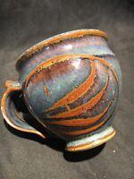 Vintage HandThrown Pottery Art Mug Colorful Purple Brown Glaze Stoneware Signed