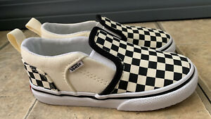 Vans Black And Off White Checkered Toddlers Slip On Size 9 ... NEW
