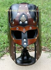 Viking Leather Helmet Fantasy Mask Armor SCA LARP fetish Helm Medieval Cosplay