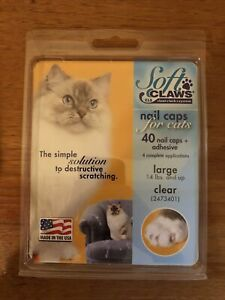 Soft Claws Clear Nail Caps For Cats Size Large 14lbs +  2473401  NEW
