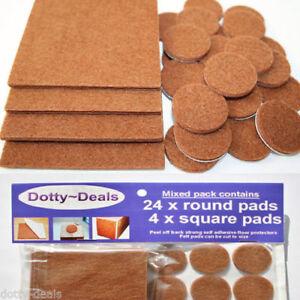 Felt Self Adhesive Pads Protects Wood Vinyl Laminate Floors Mix Pack 4SQ & 24R