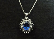 Stunning Larger Look 14K WG Tanzanite and Diamond Accent Pendant