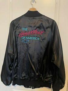 Vintage Chevrolet Heartbeat of America Satin Bomber Jacket, Black, 80s 90s, XL
