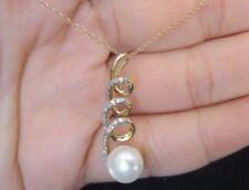 "New 14K Freshwater Pearl (8mm) & Natural Diamond drop pendant Yellow Gold 18"""