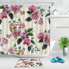 Floral with Pink Roses Shower Curtain Liner Bathroom & Hooks Polyester Fabric