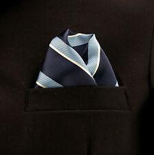 "Pocket Square Mens Hanky Lt. Blue Navy Striped 10"" Dress Suit Handkerchief New"