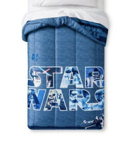 NEW Disney Star Wars Classic Logo Blue Microfiber Twin Comforter Super Soft