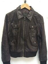 Smart ladies Brown REAL LEATHER bomber style jacket  size 12-14 Fab Condition